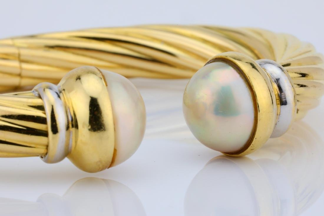 13.5mm Pearl & 18K Open Cuff Cable Bracelet - 8