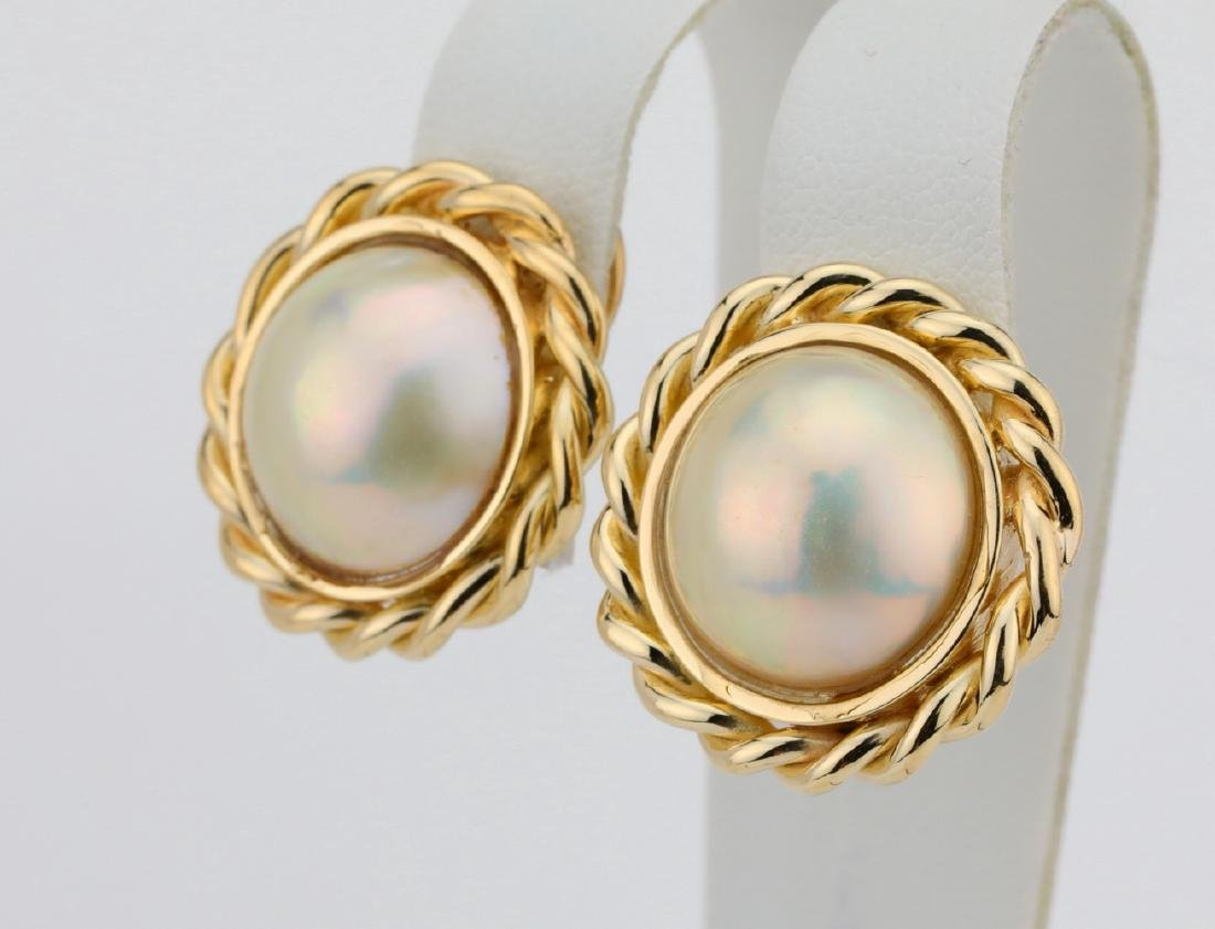 "13.5mm Pearl & 18K Yellow Gold 1"" Ear Clips - 2"