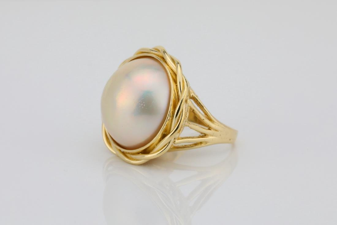 13.5mm Pearl & Solid 18K Yellow Gold Ring - 2