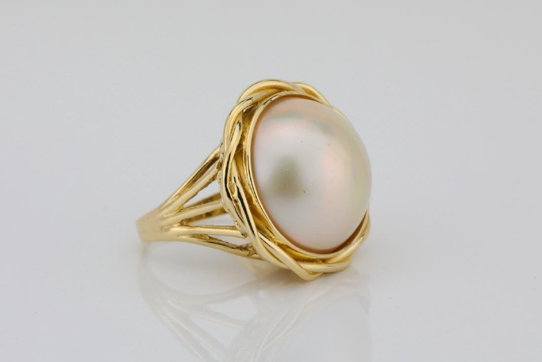 13.5mm Pearl & Solid 18K Yellow Gold Ring - 3