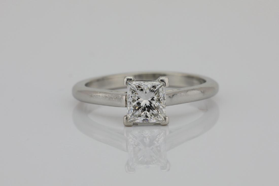Platinum 2mm Band W/0.75ct Princess-Cut Diamond