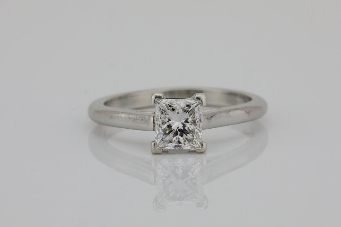 Platinum 2mm Band W/0.75ct Princess-Cut Diamond