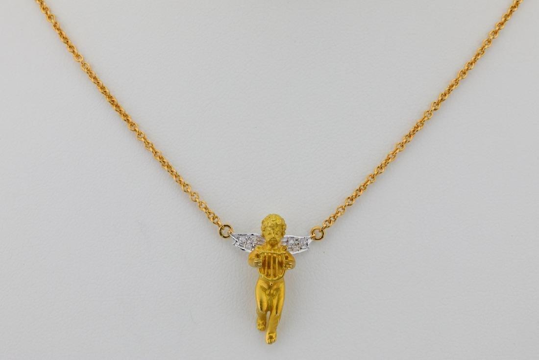 """Arezzo 18K 16"""" Cherub Necklace W/Diamond Accents"""