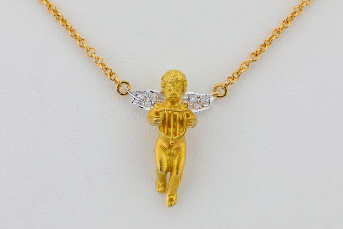 """Arezzo 18K 16"""" Cherub Necklace W/Diamond Accents - 2"""
