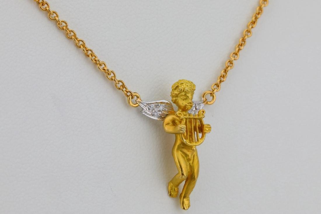"""Arezzo 18K 16"""" Cherub Necklace W/Diamond Accents - 4"""