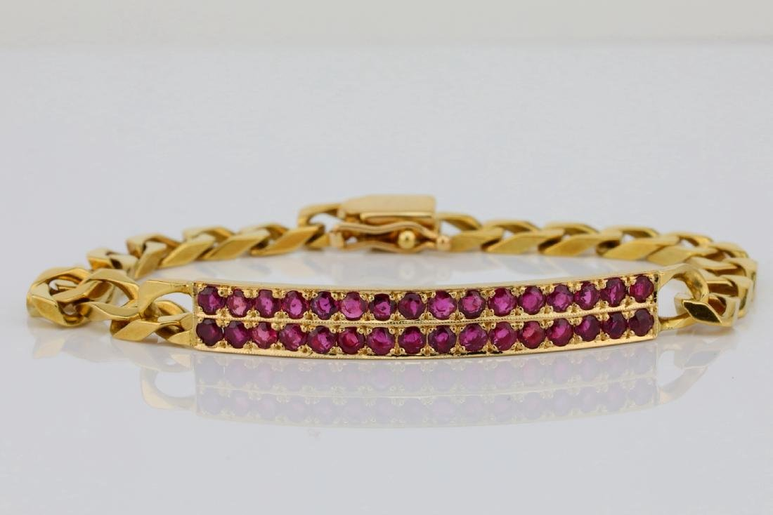 "1.60ctw Ruby & 16K 6.5"" Curb Chain Bracelet"