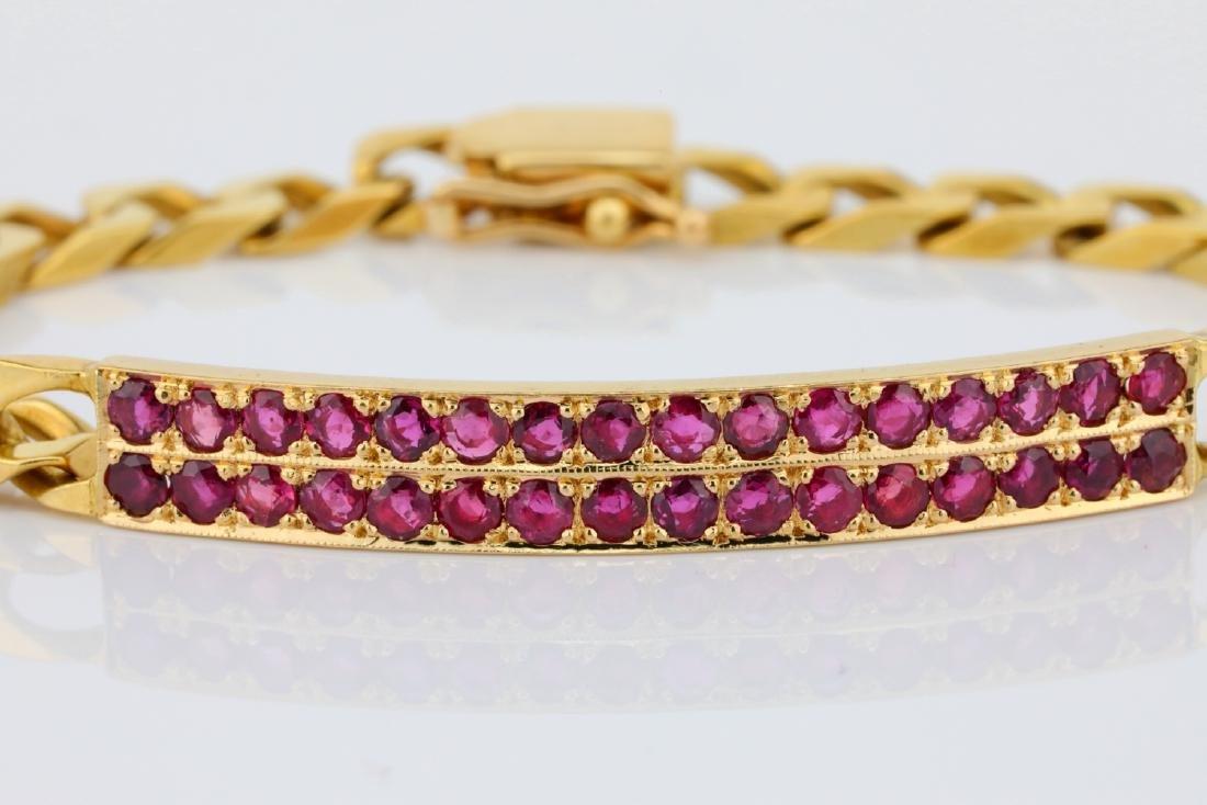"1.60ctw Ruby & 16K 6.5"" Curb Chain Bracelet - 2"