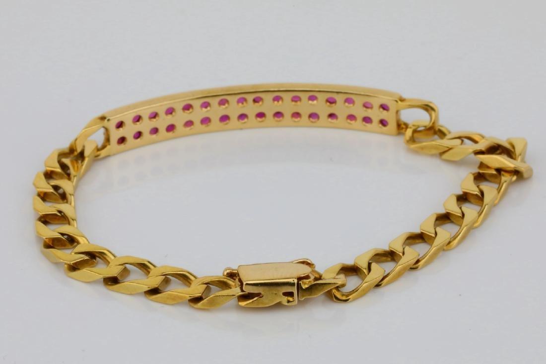 "1.60ctw Ruby & 16K 6.5"" Curb Chain Bracelet - 3"