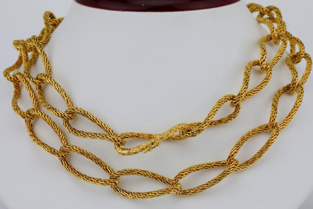 """18K Yellow Gold 29"""" Textured Heavy Link Necklace"""