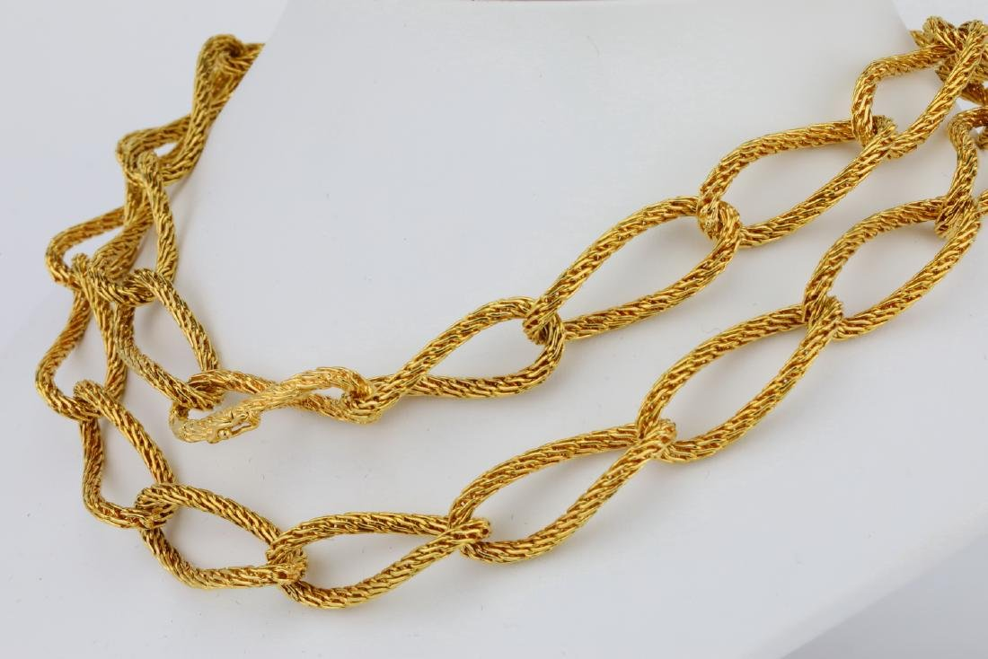 """18K Yellow Gold 29"""" Textured Heavy Link Necklace - 3"""