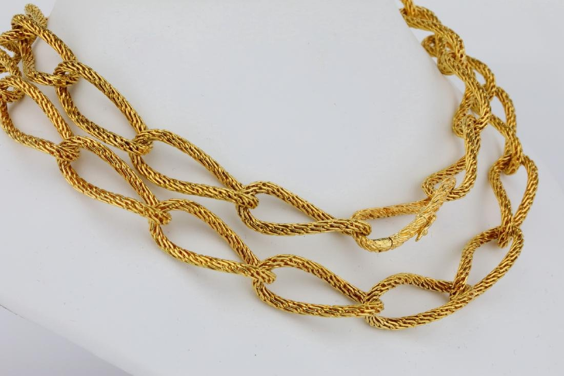 """18K Yellow Gold 29"""" Textured Heavy Link Necklace - 4"""