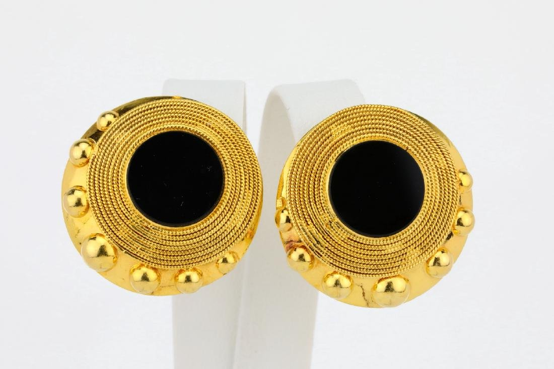 """Solid 18K Yellow Gold 1.1"""" Ear Clips W/Onyx"""
