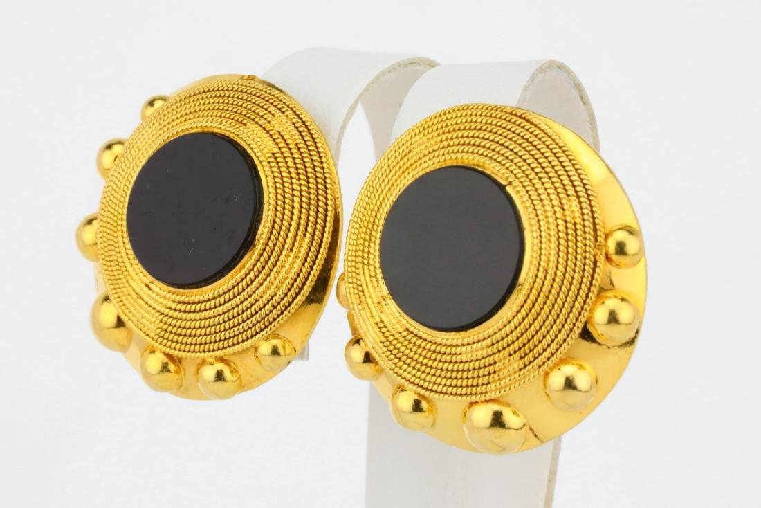 """Solid 18K Yellow Gold 1.1"""" Ear Clips W/Onyx - 2"""