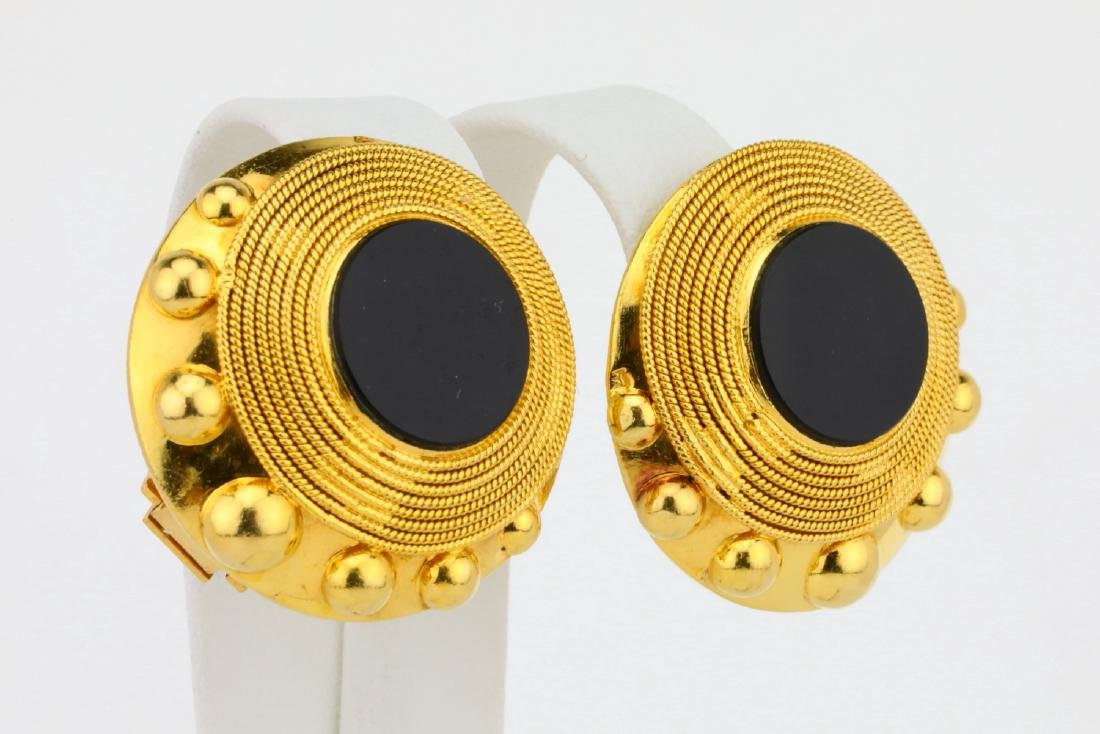 """Solid 18K Yellow Gold 1.1"""" Ear Clips W/Onyx - 3"""