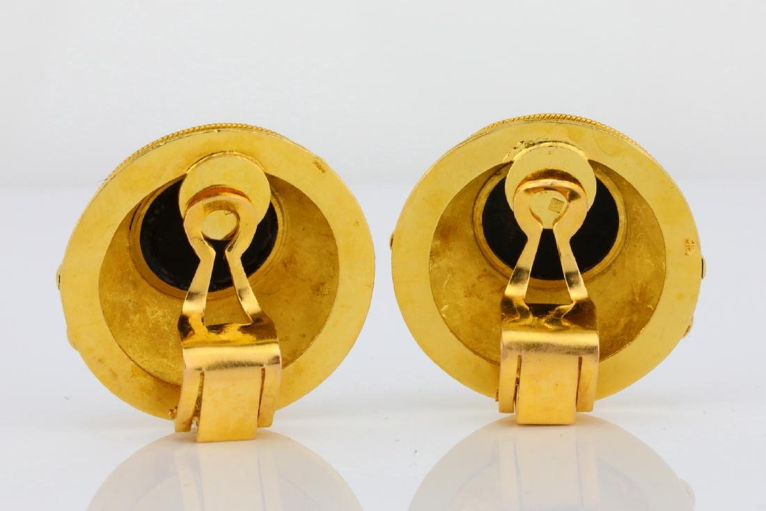 """Solid 18K Yellow Gold 1.1"""" Ear Clips W/Onyx - 4"""
