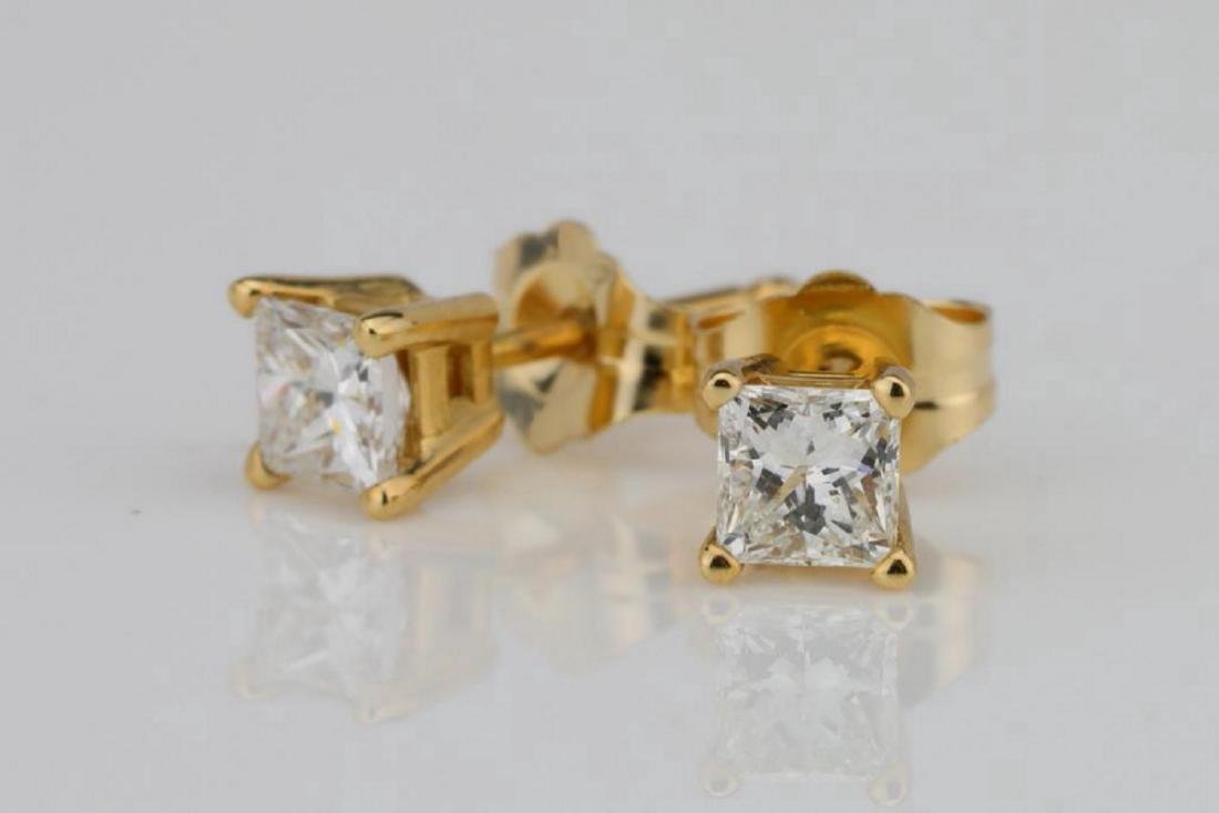 EGL 0.50ctw SI1/G-H Diamond 14K Earrings - 2