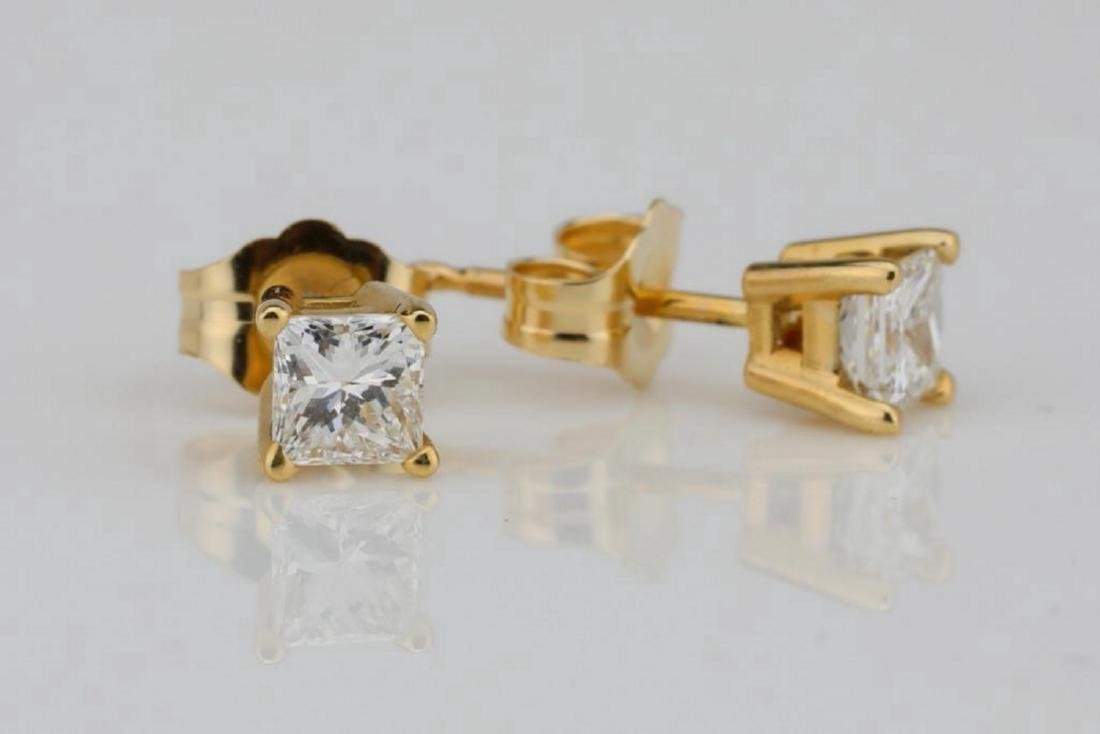 EGL 0.50ctw SI1/G-H Diamond 14K Earrings - 3