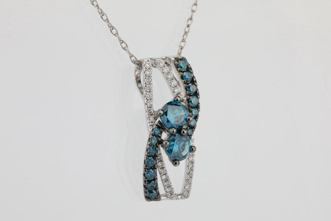 "14K & 0.75ctw Blue & White Diamond 18"" Necklace - 4"