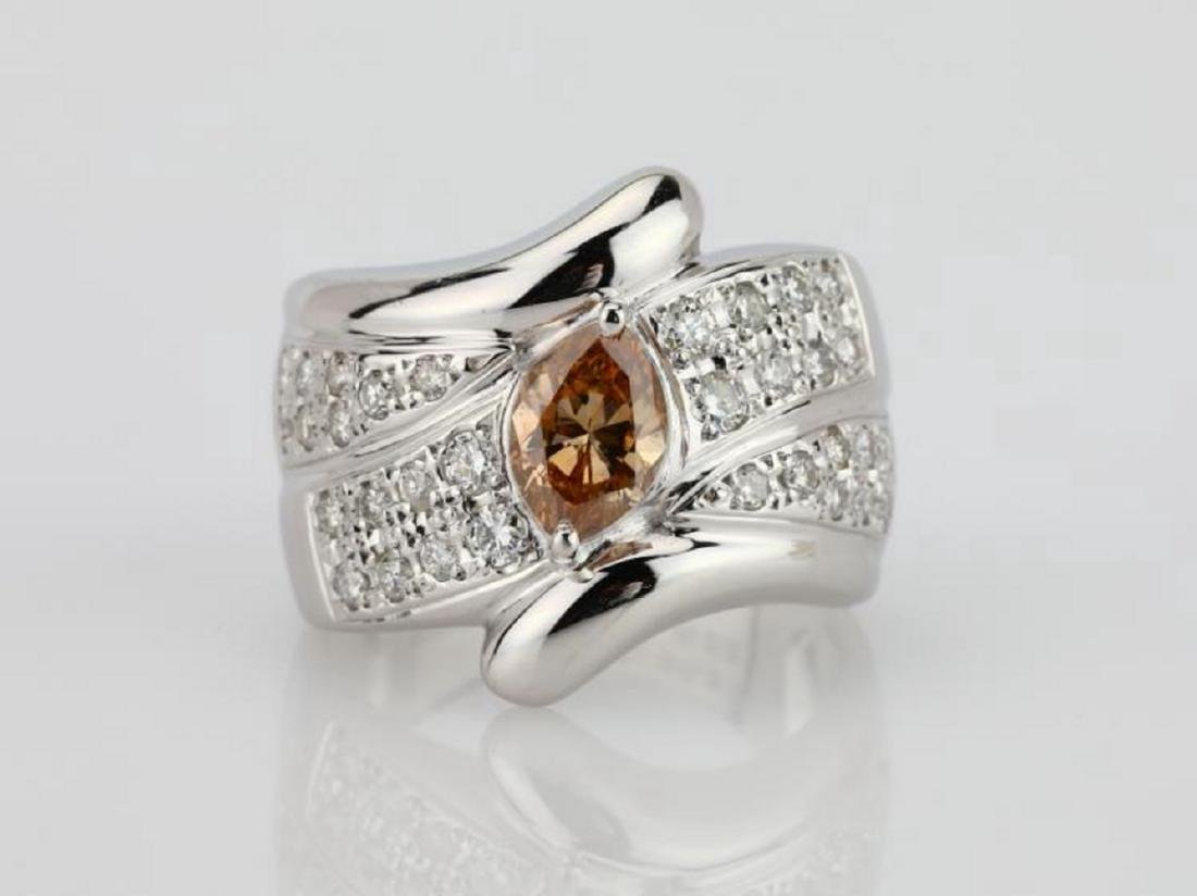 1.20ctw Orangy Brown & White Diamond 18K Ring