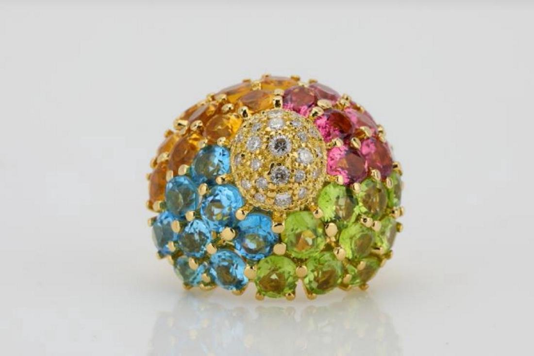 14.80ctw Multi-Gemstone & 18K Ring W/Diamonds