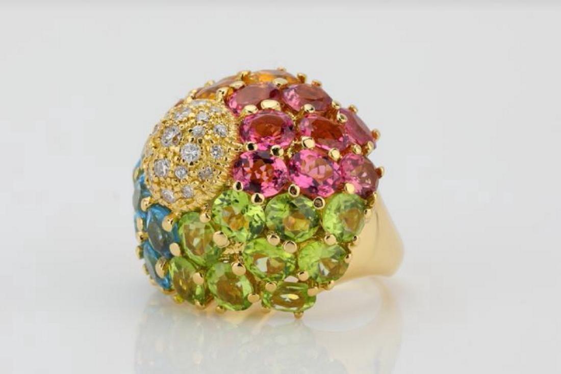 14.80ctw Multi-Gemstone & 18K Ring W/Diamonds - 2