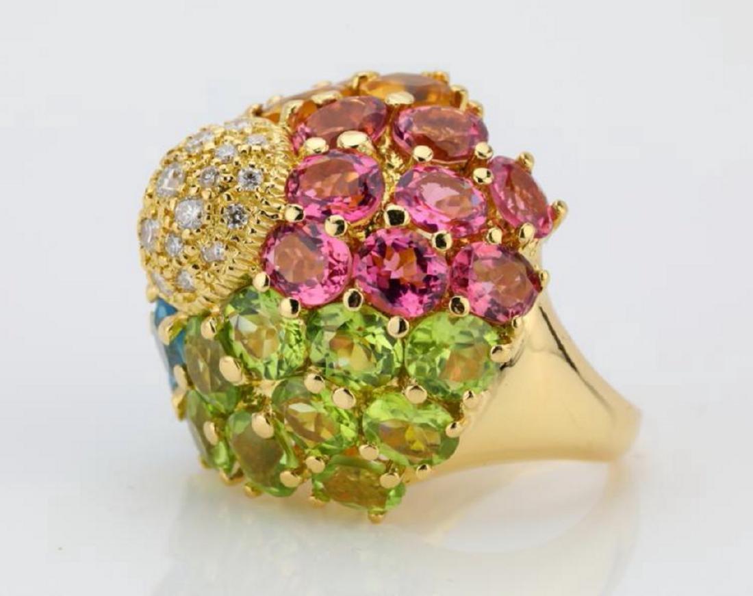 14.80ctw Multi-Gemstone & 18K Ring W/Diamonds - 3