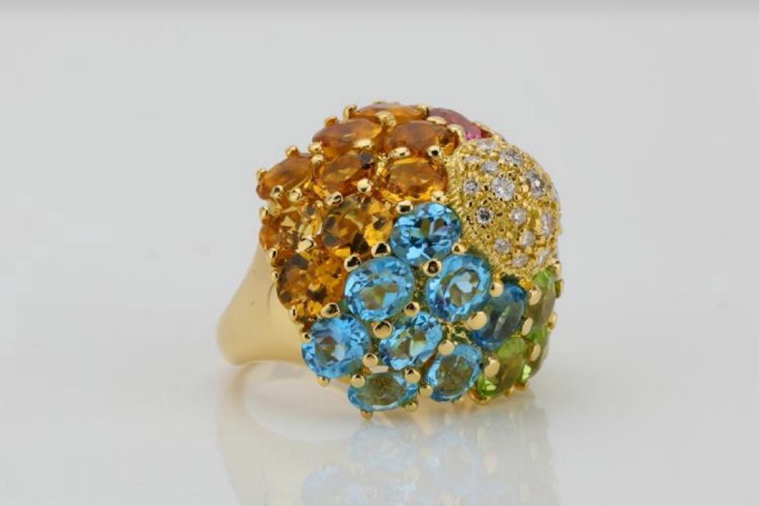14.80ctw Multi-Gemstone & 18K Ring W/Diamonds - 4