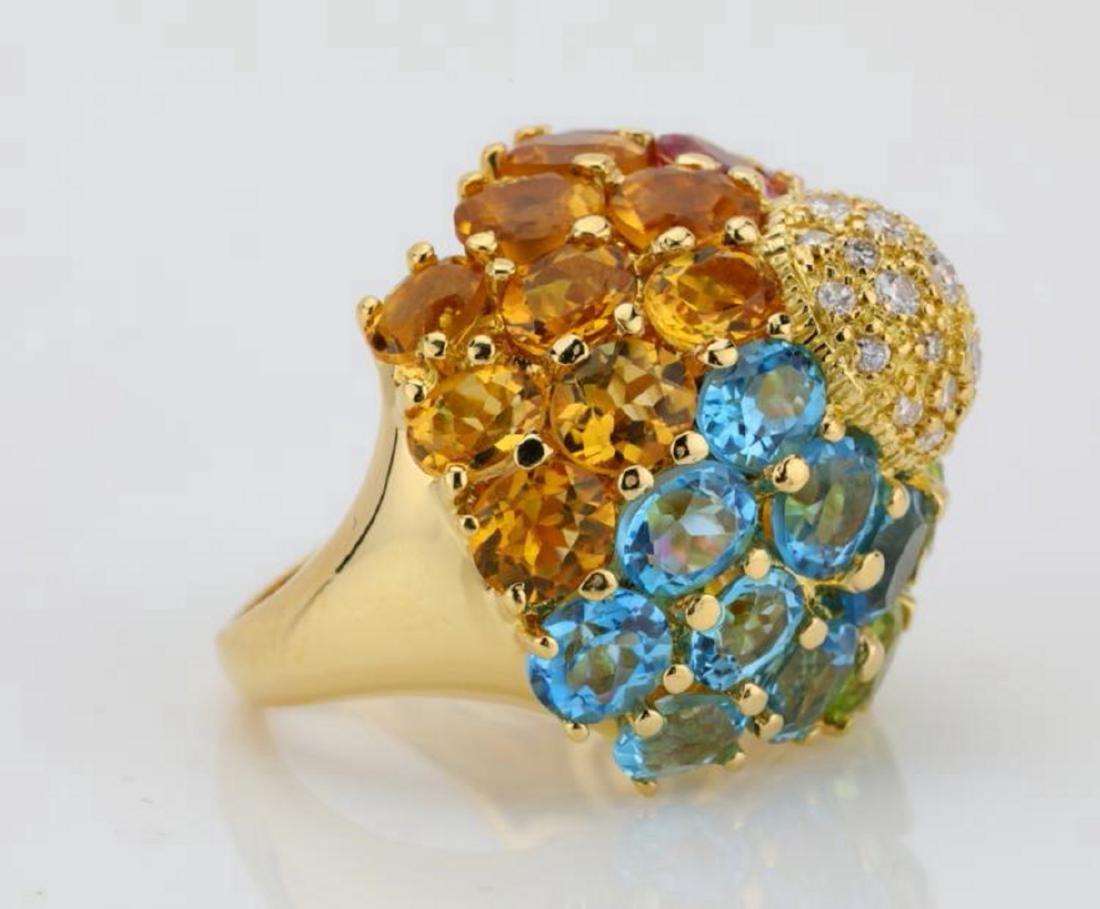 14.80ctw Multi-Gemstone & 18K Ring W/Diamonds - 5