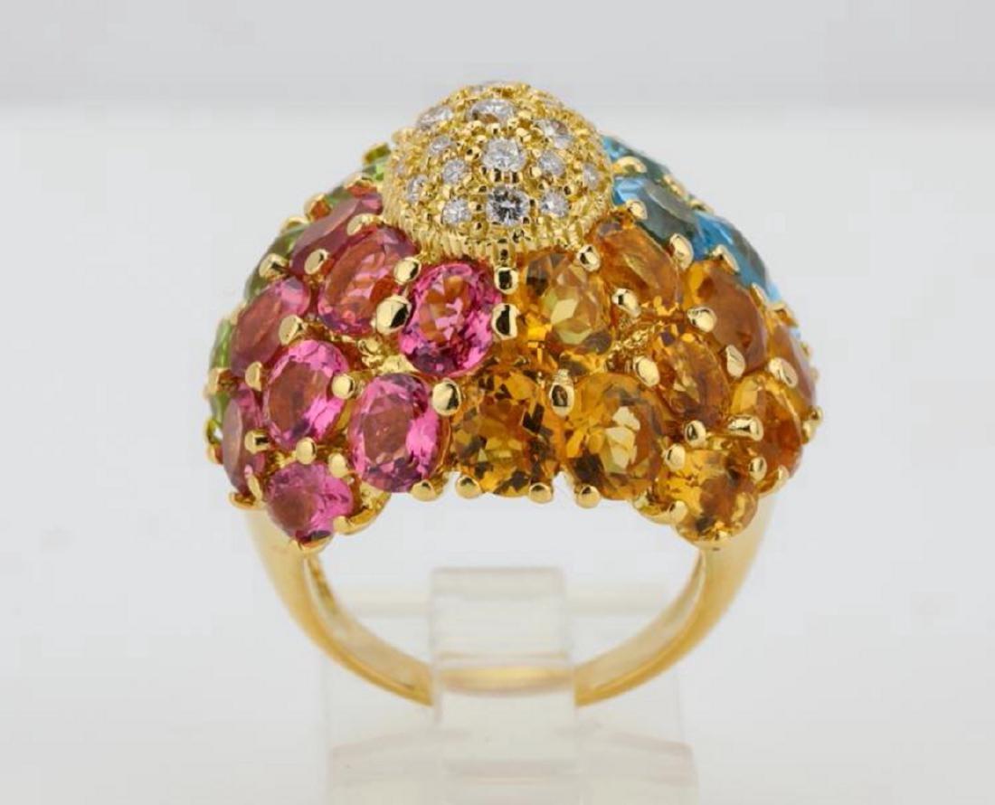 14.80ctw Multi-Gemstone & 18K Ring W/Diamonds - 7