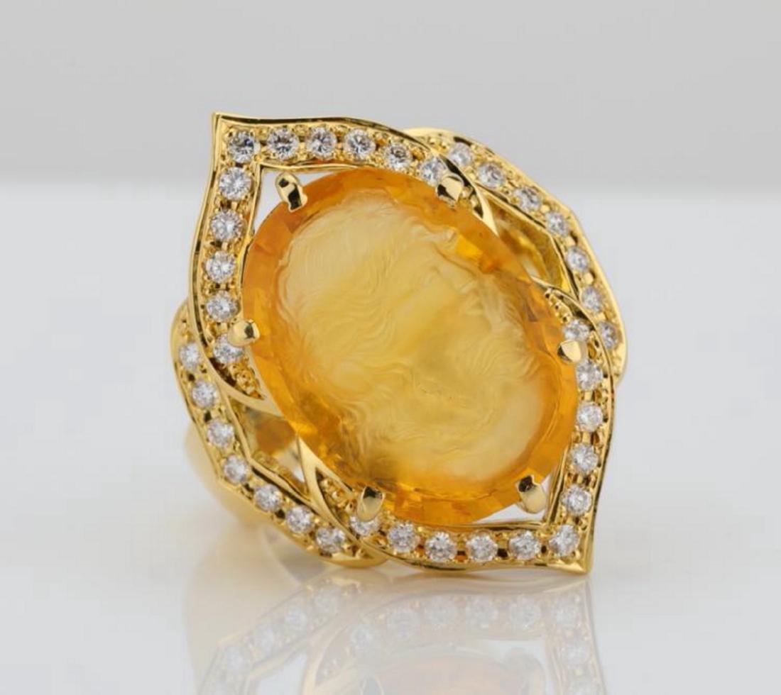 12ct Citrine Cameo, 1ctw Diamond & 18K Ring
