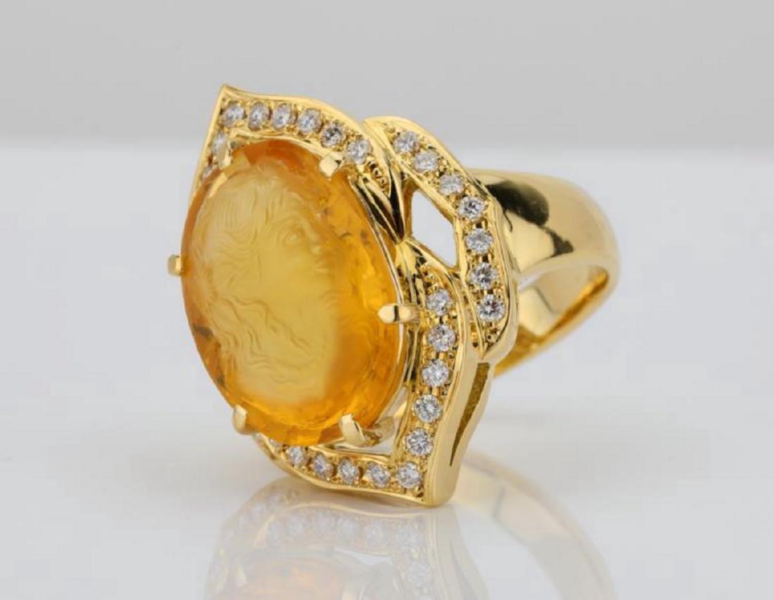12ct Citrine Cameo, 1ctw Diamond & 18K Ring - 2