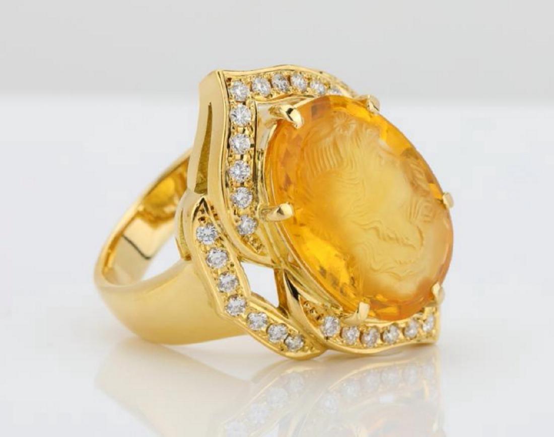 12ct Citrine Cameo, 1ctw Diamond & 18K Ring - 3