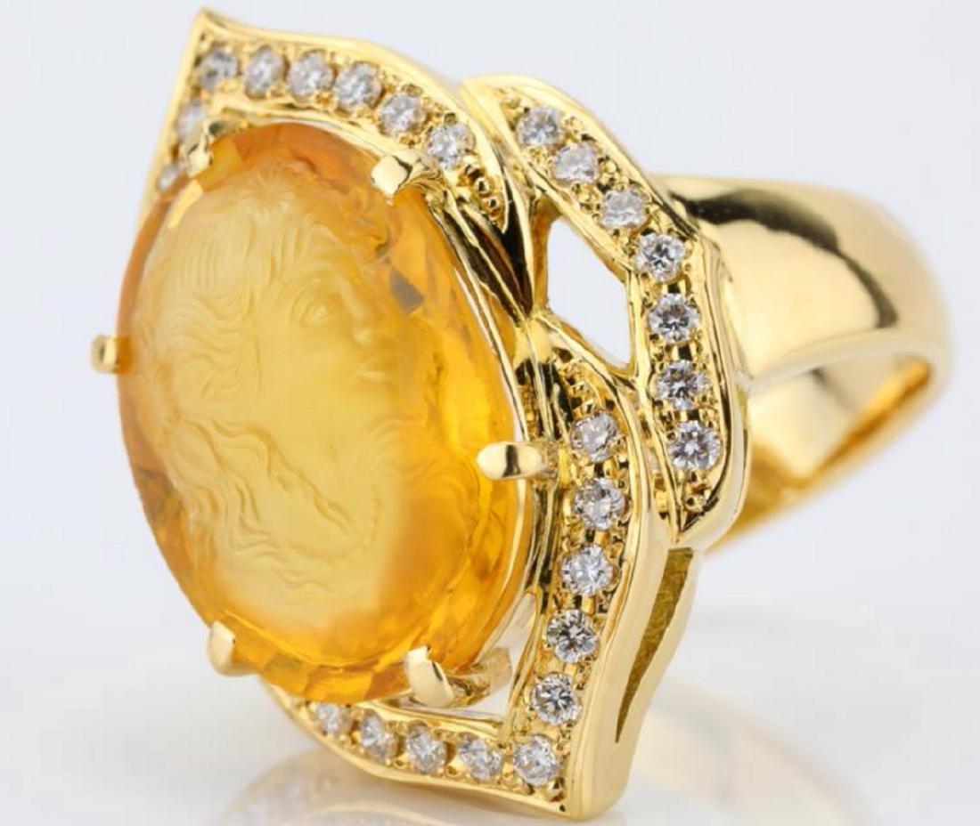 12ct Citrine Cameo, 1ctw Diamond & 18K Ring - 6