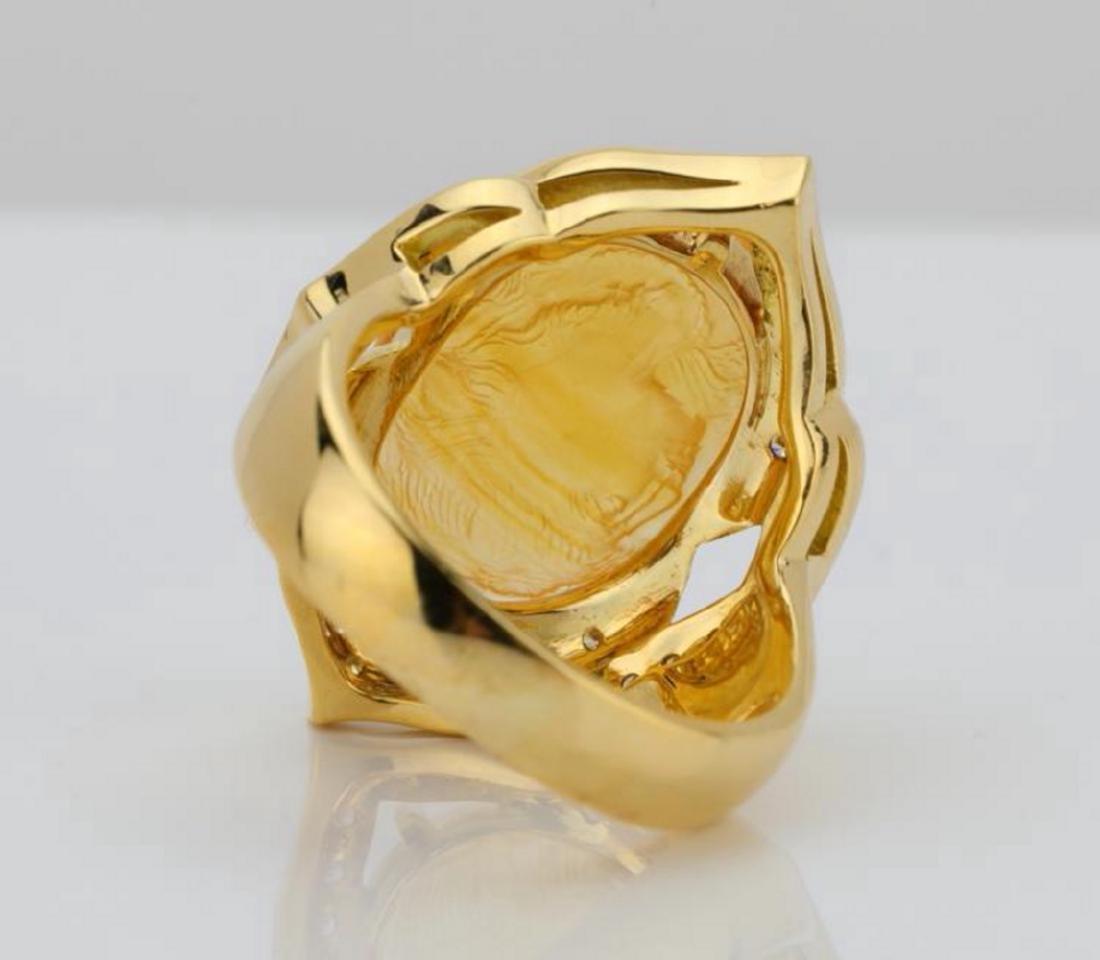12ct Citrine Cameo, 1ctw Diamond & 18K Ring - 7