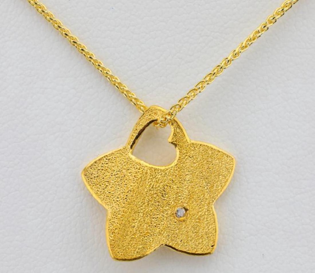 "24K Textured Star Pendant W/Diamond on 30"" Chain - 2"