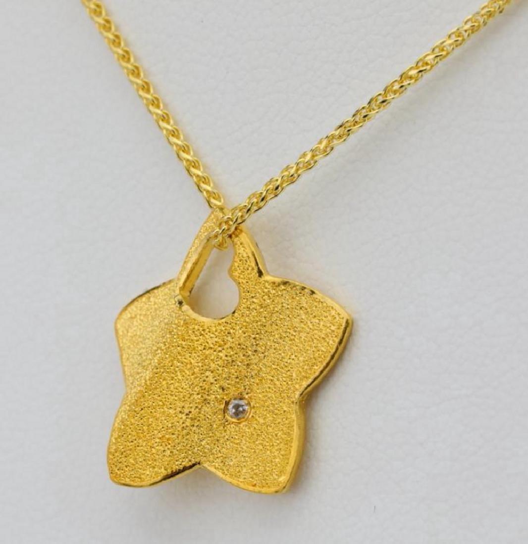 "24K Textured Star Pendant W/Diamond on 30"" Chain - 3"