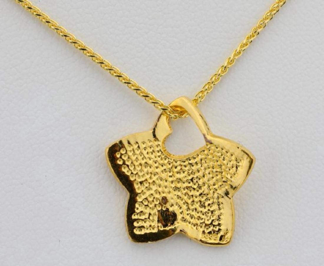 "24K Textured Star Pendant W/Diamond on 30"" Chain - 5"