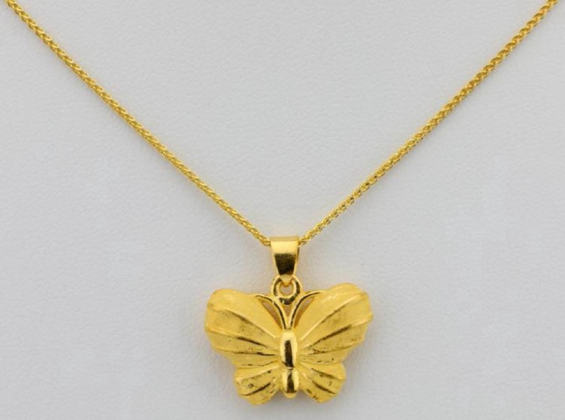 """24K 1"""" Textured Butterfly Pendant on 24"""" Chain"""