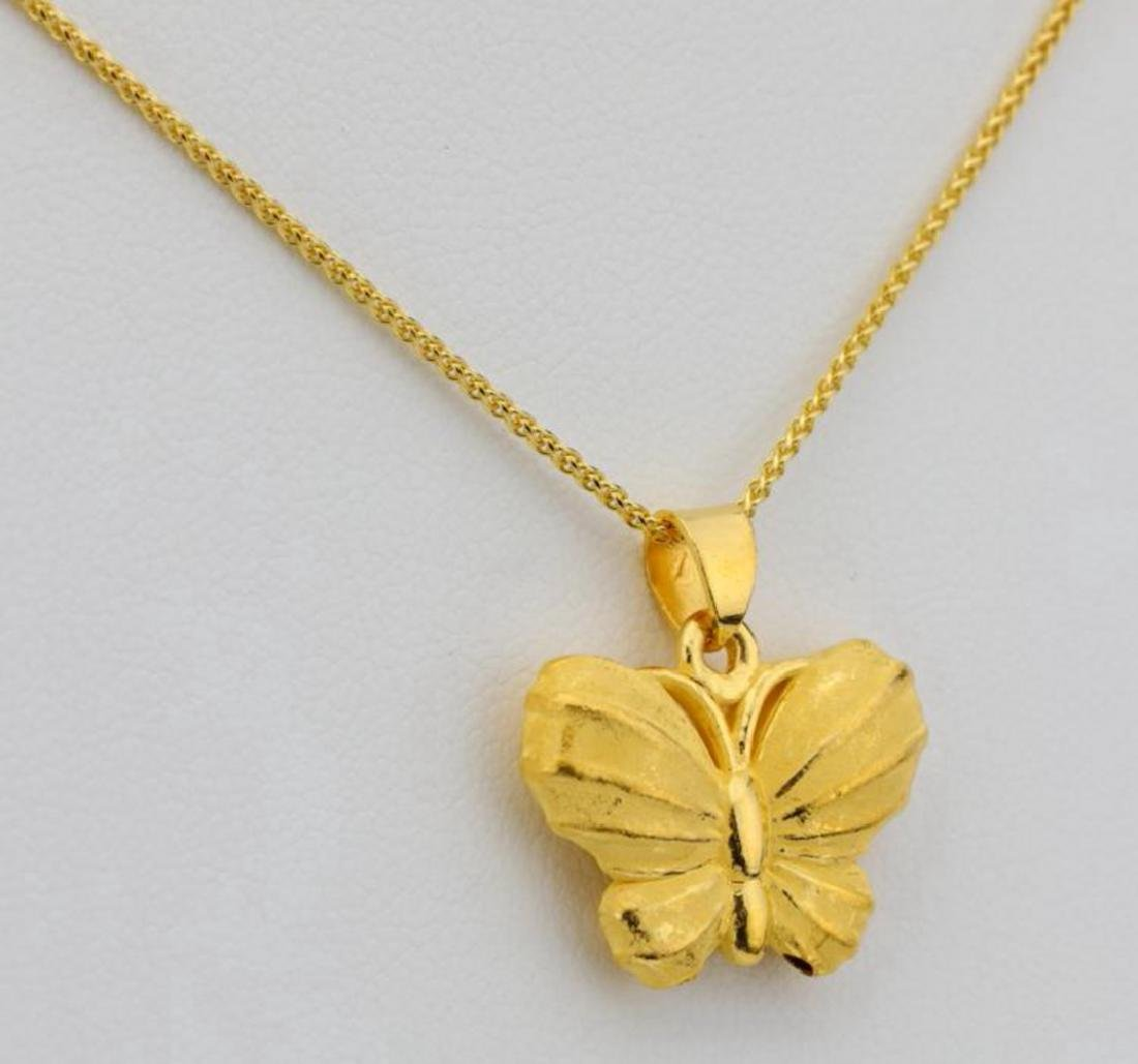 """24K 1"""" Textured Butterfly Pendant on 24"""" Chain - 2"""