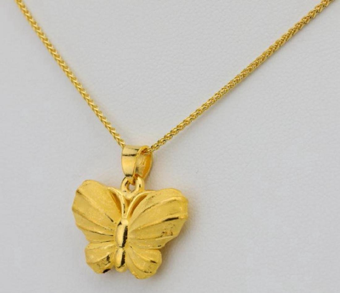 """24K 1"""" Textured Butterfly Pendant on 24"""" Chain - 3"""