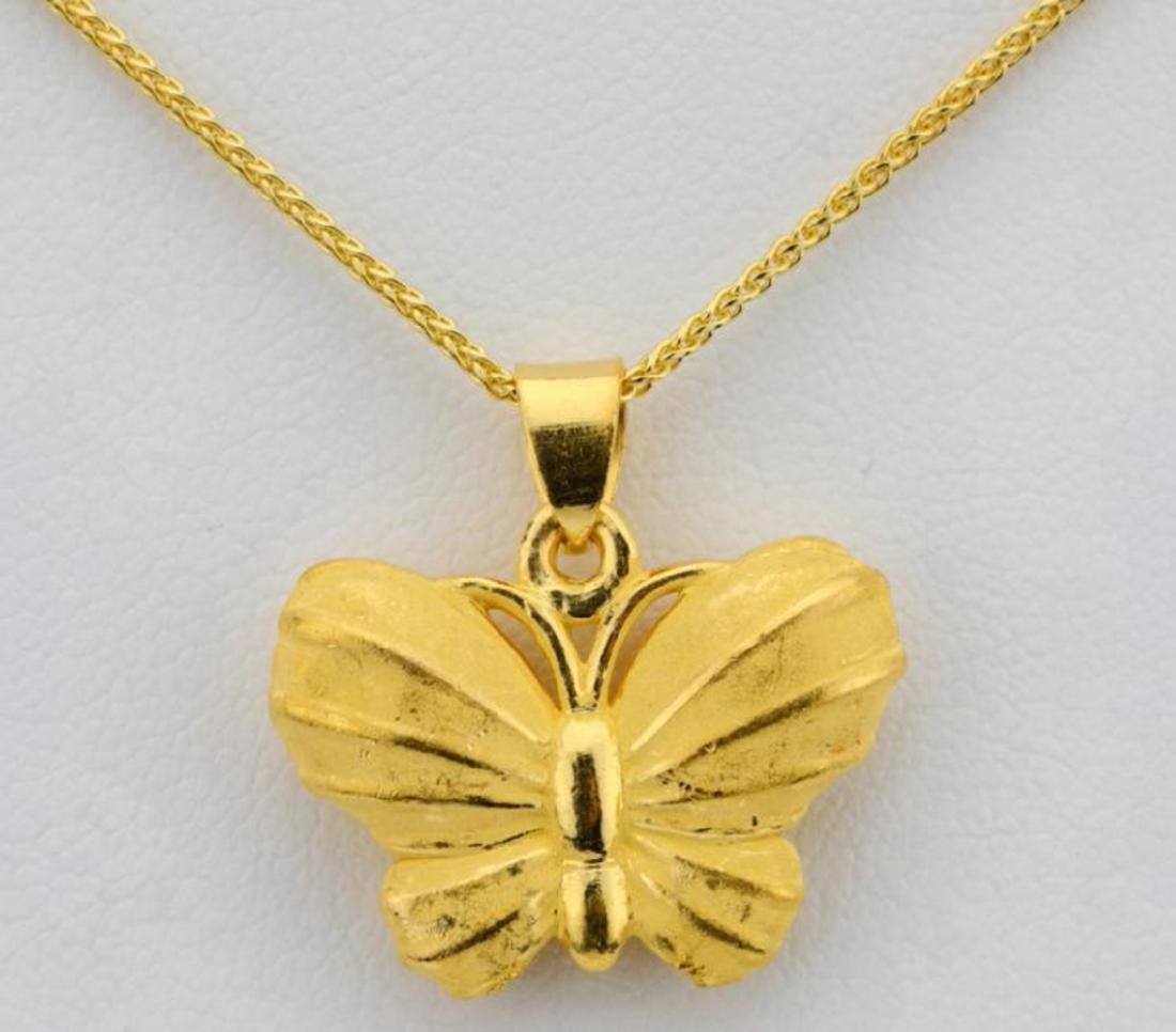 """24K 1"""" Textured Butterfly Pendant on 24"""" Chain - 4"""