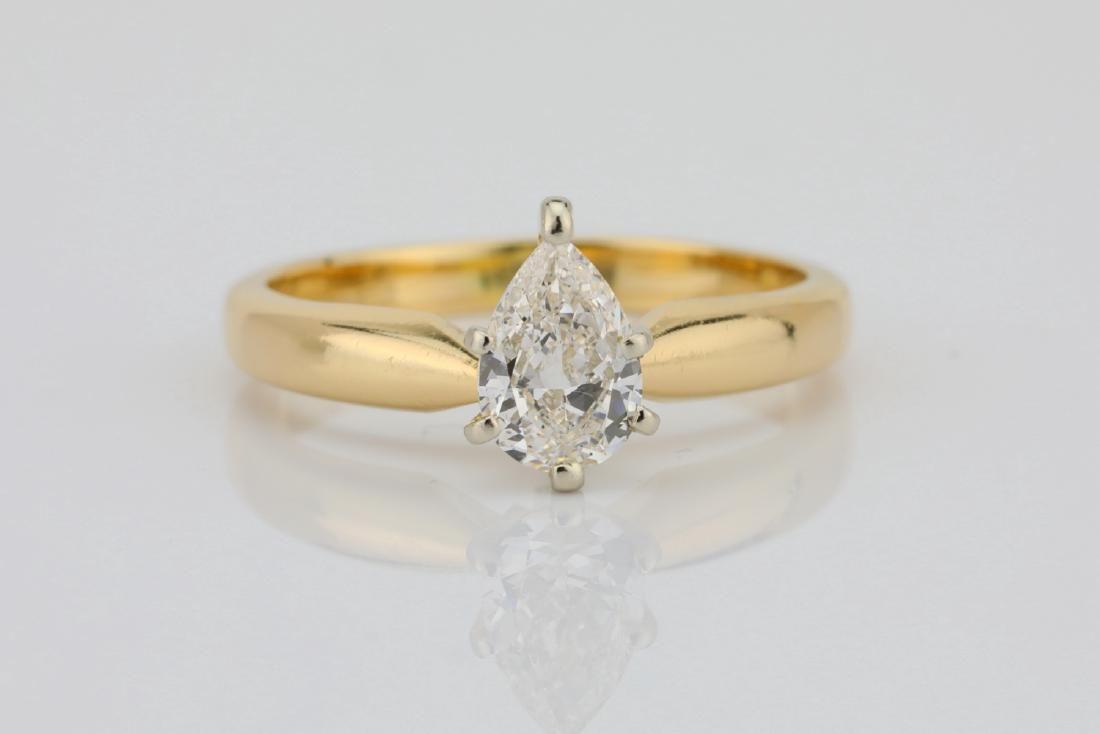 14K Yellow Gold 3mm Band W/.75ct Pear-Cut Diamond