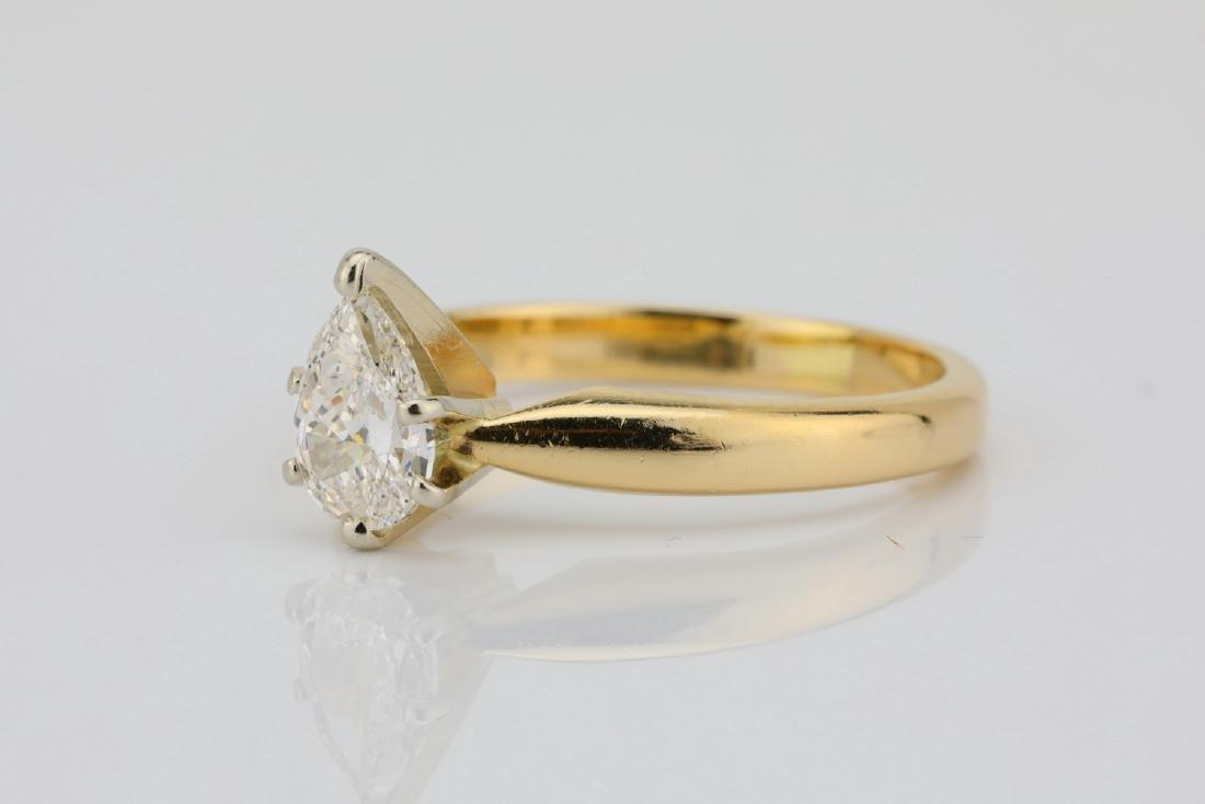 14K Yellow Gold 3mm Band W/.75ct Pear-Cut Diamond - 2