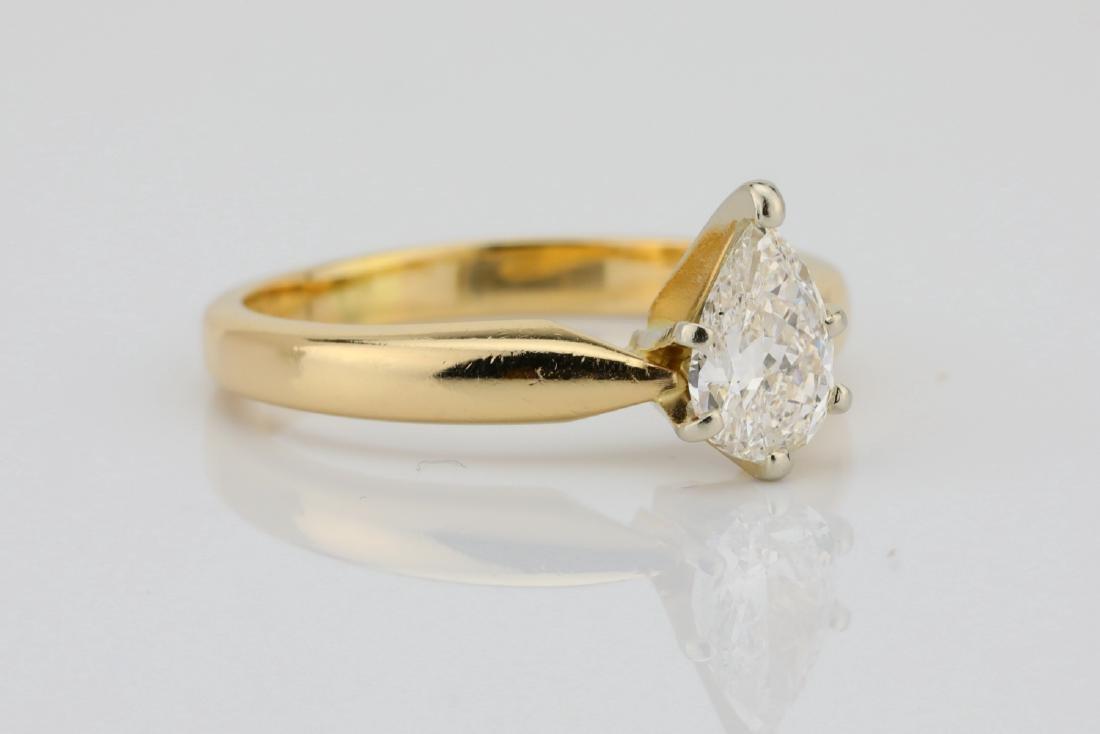 14K Yellow Gold 3mm Band W/.75ct Pear-Cut Diamond - 3