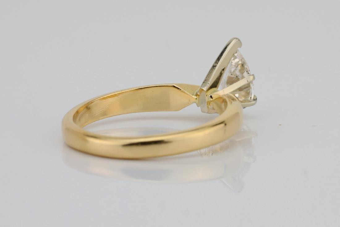 14K Yellow Gold 3mm Band W/.75ct Pear-Cut Diamond - 4