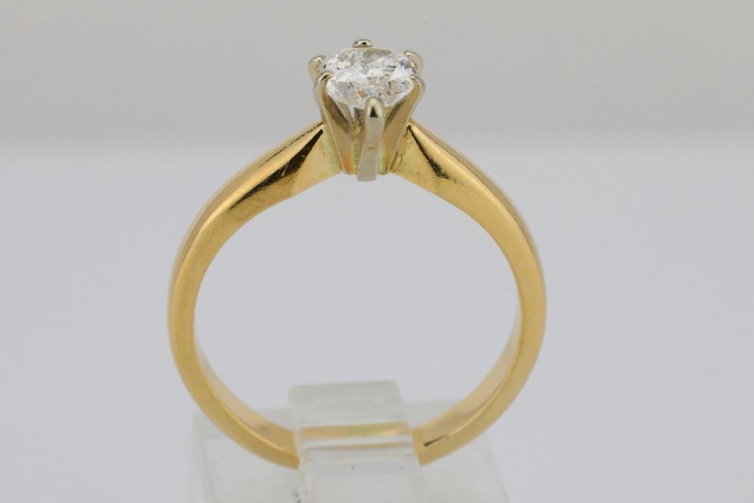 14K Yellow Gold 3mm Band W/.75ct Pear-Cut Diamond - 5
