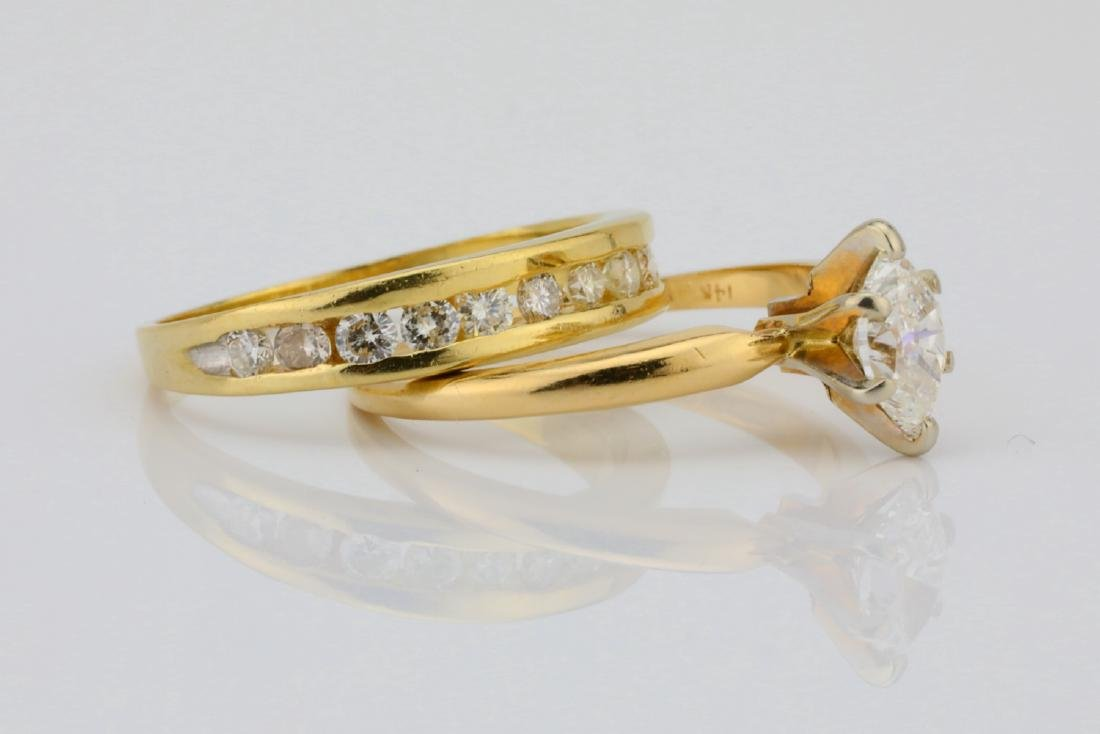 1.00ctw SI1-SI2/G-H Diamond & 14K Ring/Band Set - 3