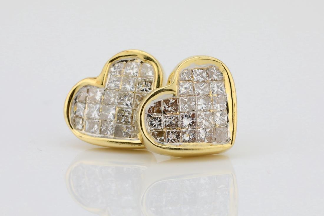 14K & 0.85ctw SI1-SI2/H-J Diamond 9.5mm Earrings - 2