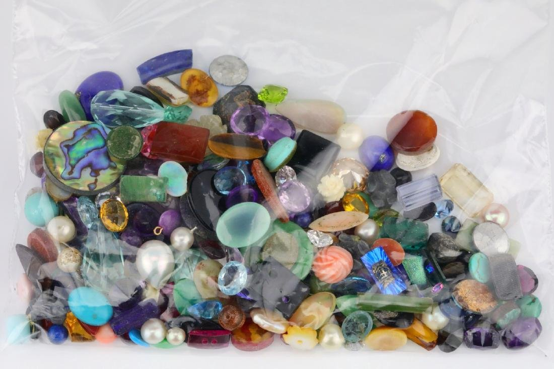 Bag of Misc. Unsearched Loose Gemstones & More