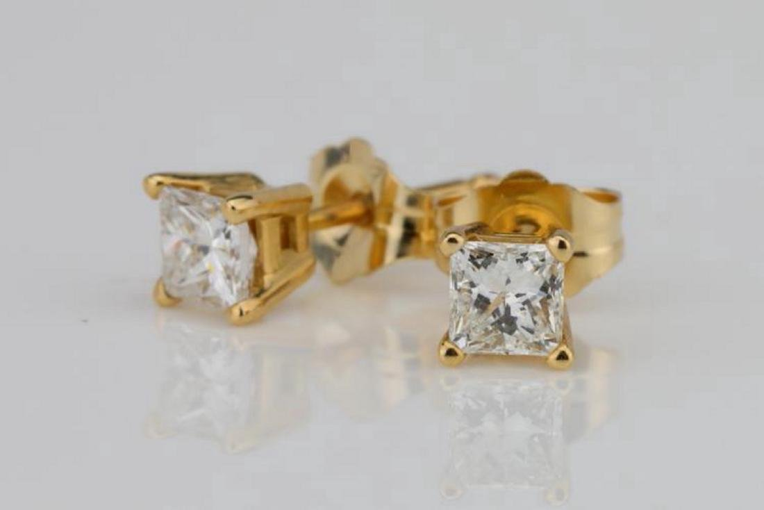 EGL 0.50ctw SI1-SI2/G-H Diamond 14K Earrings - 2